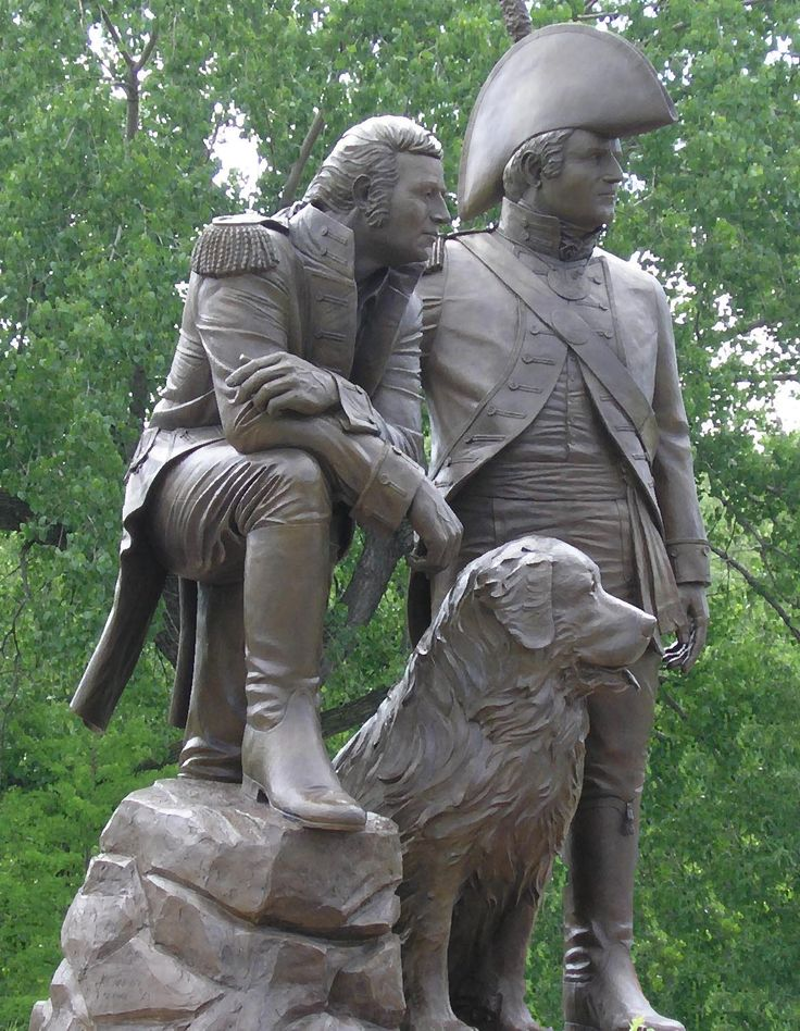St. Charles, Missouri - Lewis, Clark & Seaman Monument in Frontier Park along the Missouri River