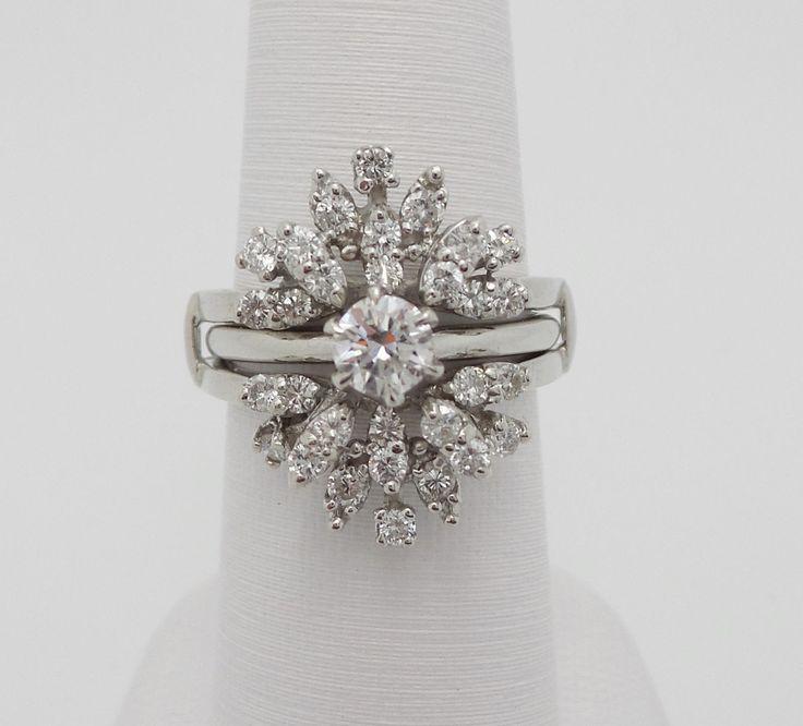 1ct diamond solitaire wrap guard enhancer engagement wedding ring set 14k gold