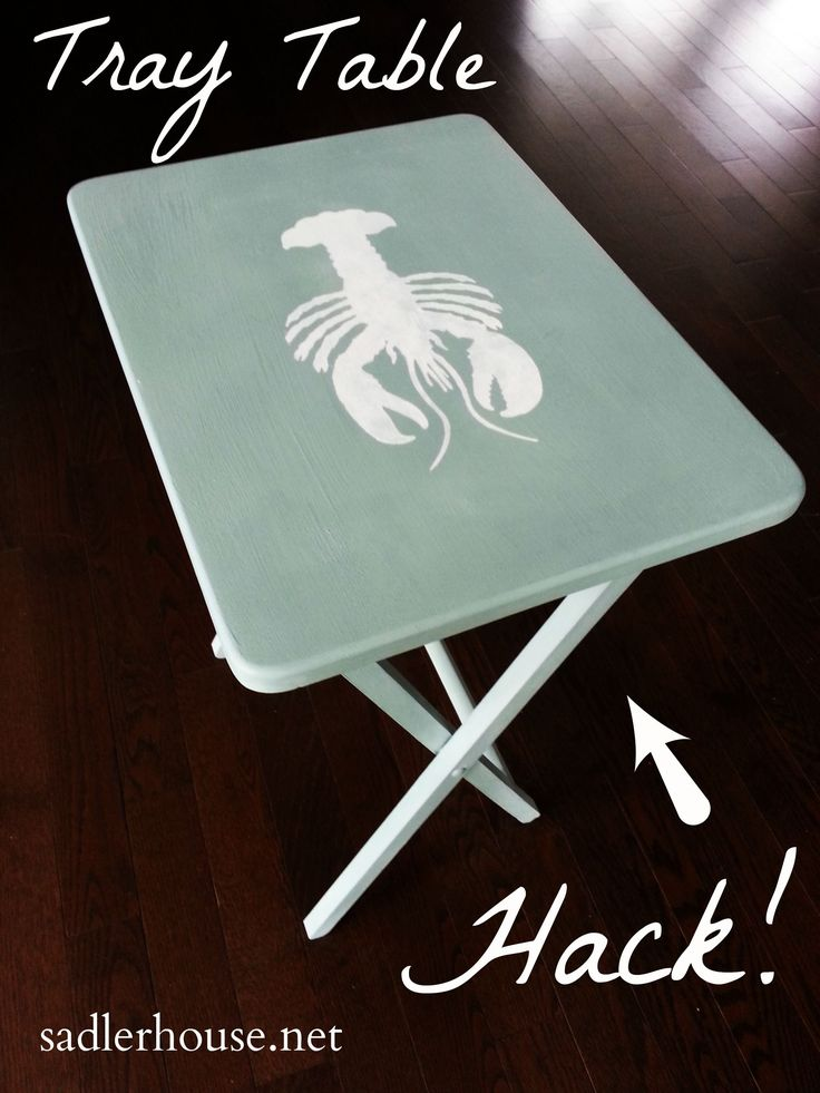 Don't throw out that cheap big box store tray table! See how you can make it over into a cute coastal end table in no time. Find out how! hacks diy | coastal decor | upcycle | home decor #CoastalDecorating #homedecorhacksdiy