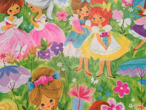 Vintage Wrapping Paper  Juvenile Girl's by TheGOOSEandTheHOUND, $6.00