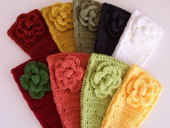 Crochet Headband W/Flower/ Button Closure