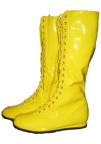 Yellow Wrestling Costume Boots