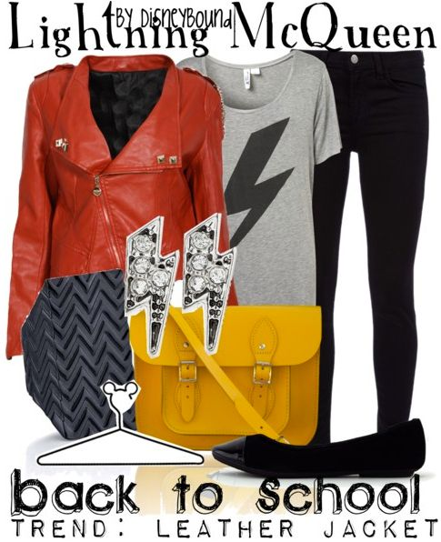 disney bound outfits - Lightning McQueen I think I'll do this with my black leather jacket, red skinny jeans, and black sparkly Converse :D