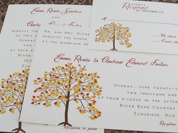 Fall Wedding Invitations By Whimsicalprints On Etsy 250