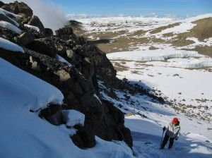 heading up to the summit from the crater camp on kilimanjaro