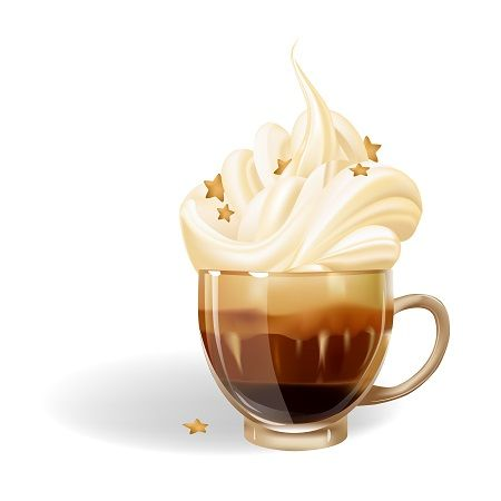 Cup of coffee with whipped cream by Maria Rytova #cup #coffee #morning #realistic #vector
