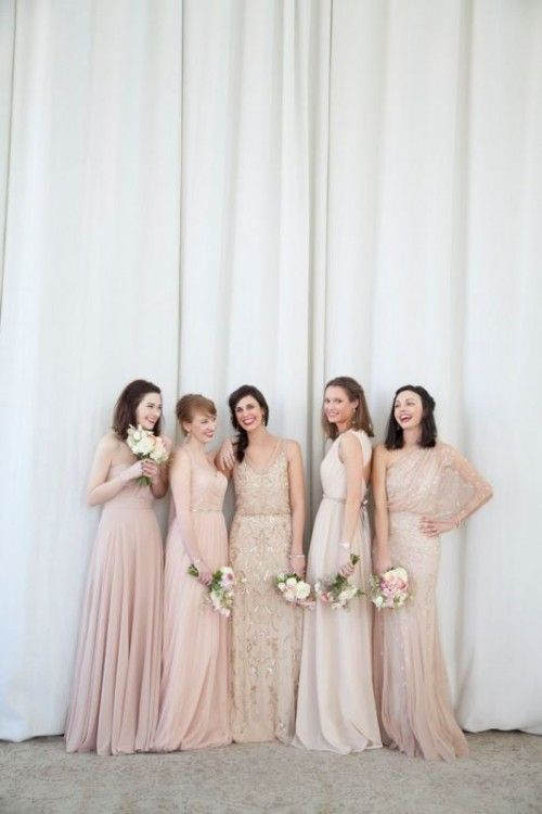 30 Most Beautiful Neutral Color Bridesmaids' Dresses - Weddingomania
