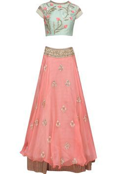 "Peach ""Pastel Perfection"" 3D floral embroidered lehenga and peach blouse set…"