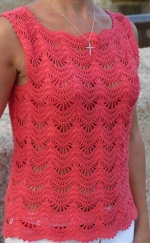Esta bela fio blusa de crochê. uma blusa feita com pontos especiais veja o gráfico abaixo - Crochet padrões livre