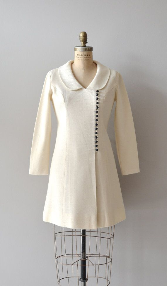 mod cream 1960's coat dress