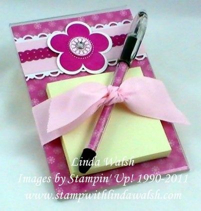 Post It Note holders...could put a postcard on back n stick the paper thing inside pen