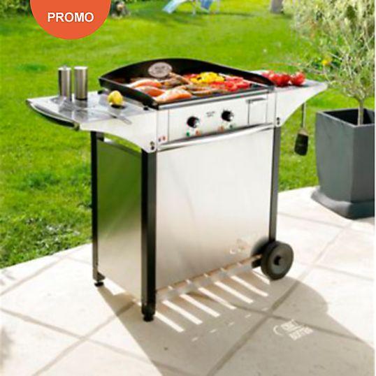 Ensemble Plancha Roller Grill emaille 40 0x400 électrique + desserte inox et bois
