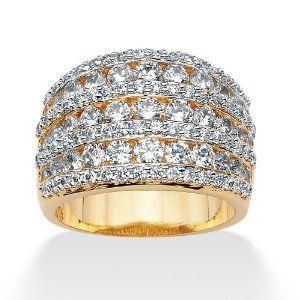 PalmBeach Jewelry 2.86 TCW Round Cubic Zirconia 14k Gold-Plated Multi-Row Open Dome Ring Palm Beach Jewelry. $59.99