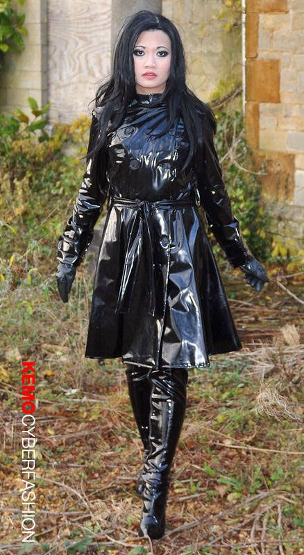 Milf in pvc coat amp leather lace up basque - 2 7