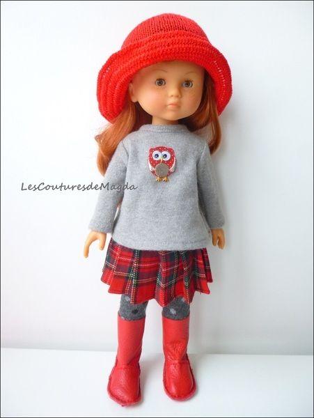 Tenue rouge et gris pour poupée 32-36 cm de lesCouturesdeMagda sur DaWanda.com