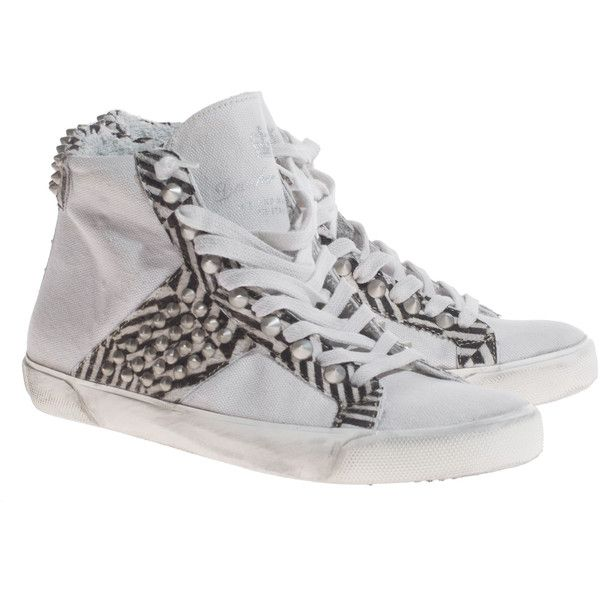 LEATHER CROWN Pony Zebra Tessorrico Sneakers with fur and studs (815 BRL) ❤ liked on Polyvore featuring shoes, sneakers, black and white high tops, fur sneakers, high-top sneakers, hi tops and black white sneakers