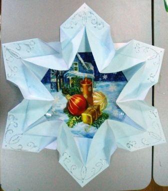 Рамка «Снежинка» в технике оригами для украшения стен. Воспитателям детских садов, школьным учителям и педагогам - Маам.ру