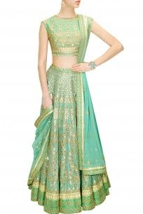 Aqua gota patti embroidered lehenga set