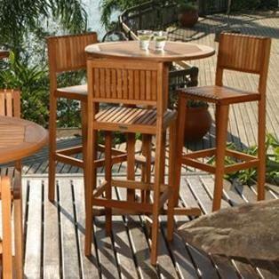 Amazonia Ibiza 3-Person Eucalyptus Patio Bar Set - Brown