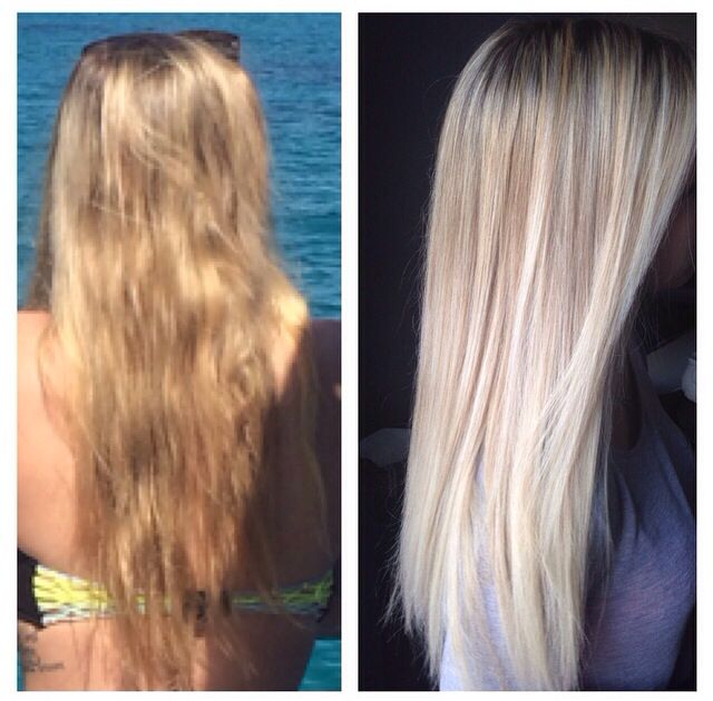 Before and after! Platinum icey balayage ! Long blonde locks! Long layered sombré !