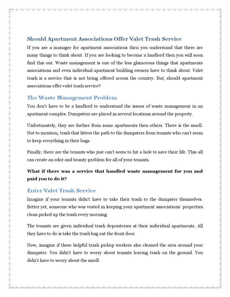 Should Apartment Associations Offer Valet Trash Service Second