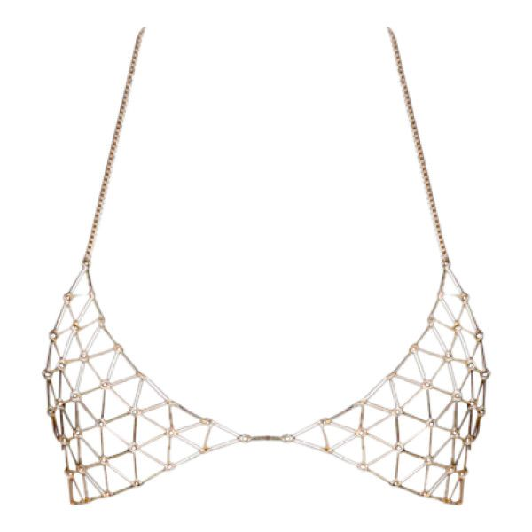 Triangle Bra Body Chain Golden ($7.96) ❤ liked on Polyvore featuring tops, accessories, bras, lingerie, crop tops, triangle bra and lingerie bra