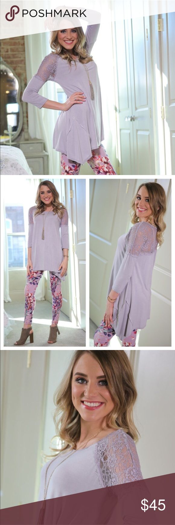 🆕 Lilac and Lace Tunic Super cute lilac and Lace Tunic! Pairs perfectly with the leggings in this post that I also have for sale! 94% Rayon, 6% Spandex. 20% off bundles!! Infinity Raine Tops Tunics