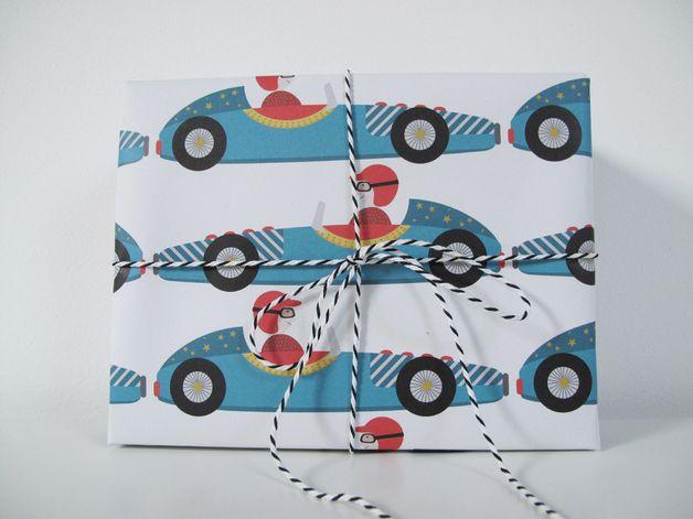 Geschenkpapier mit Rennwagen, Weihnachten und Geburtstag / colourful cute wrapping paper, racing cars by ava&yves via DaWanda.com