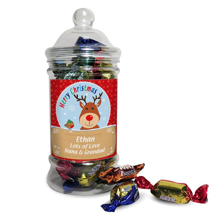 Personalised Rudolph Toffee Jar This classic shaped sweet jar is filled with delicious toffees and soft centres a great stocking filler Personalise