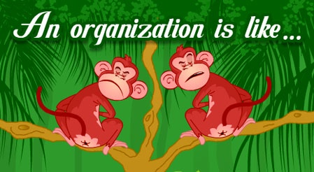 Any organization is like a tree full of monkeys...  Click the link to watch the animation.  http://wonderfulecards.com/CardPreviewPageX.aspx?CardId=190=12