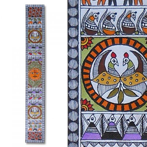 Madhubani painting featuring the sun lord and peacocks for How to learn glass painting at home