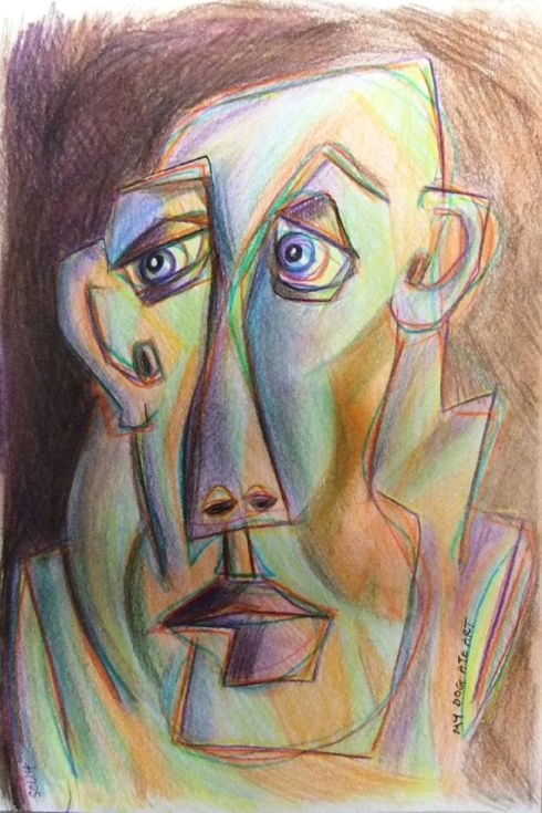 ARTFINDER: Face (1) by Steve Clement-Large - Experimenting with hues, planes and shades ...