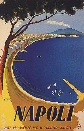 Vintage Italy Napoli Travel Poster  http://www.amazon.com/La-TAVOLA-Adventures-Misadventures-American/dp/1463618123