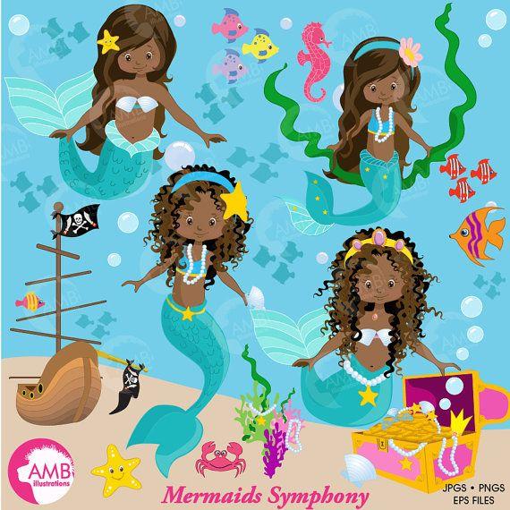 Mermaid clipart African American Mermaids Clipart dark skin