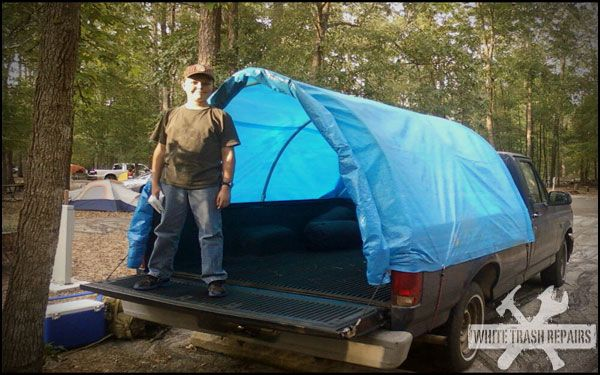 Cheap.. a tarp and some PVC pipes and some bungee cords.. HRMmm