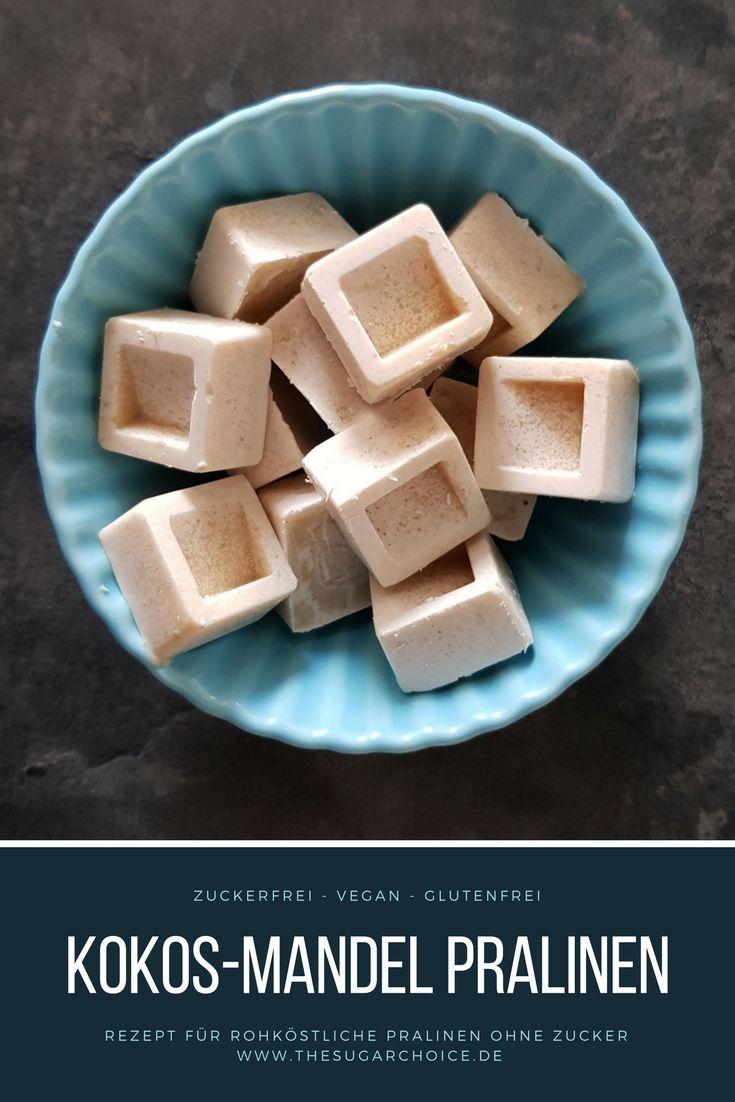 Eigentlich wollte ich einen süßen Brotaufstrich ohne Zucker kreieren. Herausgekommen sind zuckerfreie, vegane und glutenfreie Kokos-Mandel Pralinen.