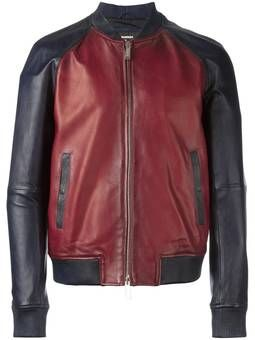 contrasted leather bomber jacket
