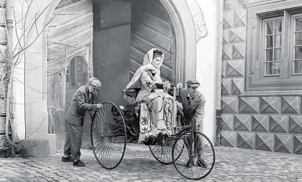 """Bertha Benz driving the Benz Patent-Motorwagen, c. 1886"""