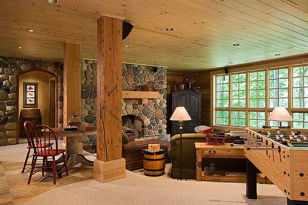 261 best cabin decor ideas images on pinterest home for Log cabin basement ideas