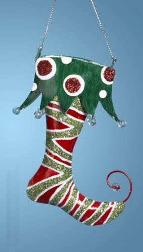 Green Satin Christmas Elf Decoration