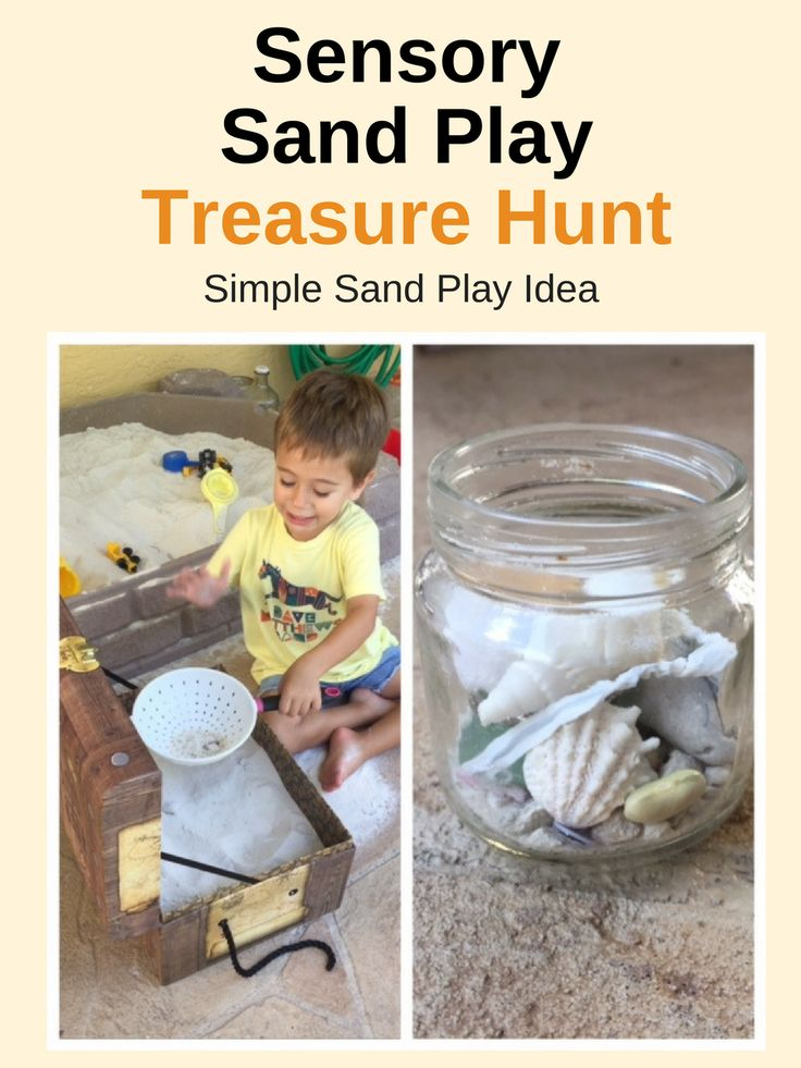 Sensory sand play ideas for toddlers & preschoolers. Super easy set up for a treasure hunt in the sand using items around your house. Simple sand play idea and great sensory activity.