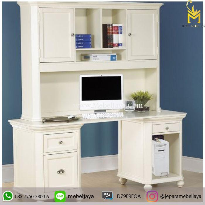 Meja Kerja Dengan Almari Warna Putih Duco Jepara - meja kerja atau meja kantor dengan desain minimalis modern terbaru juga bisa request ukuran dan warna