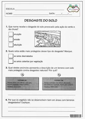 SOS PROFESSOR-ATIVIDADES: Desgaste do solo
