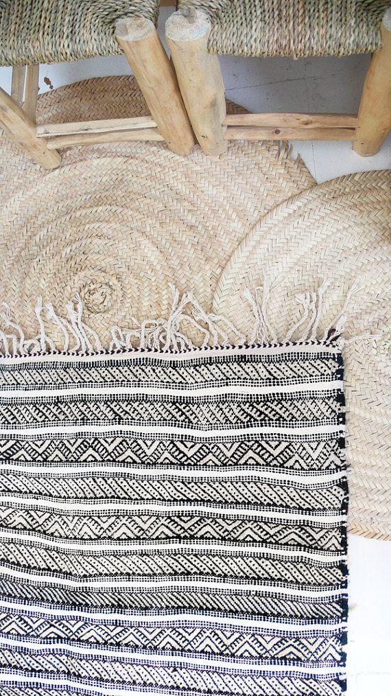 Vintage Beni Ouarain Kilim Reversibly Moroccan por lacasadecoto