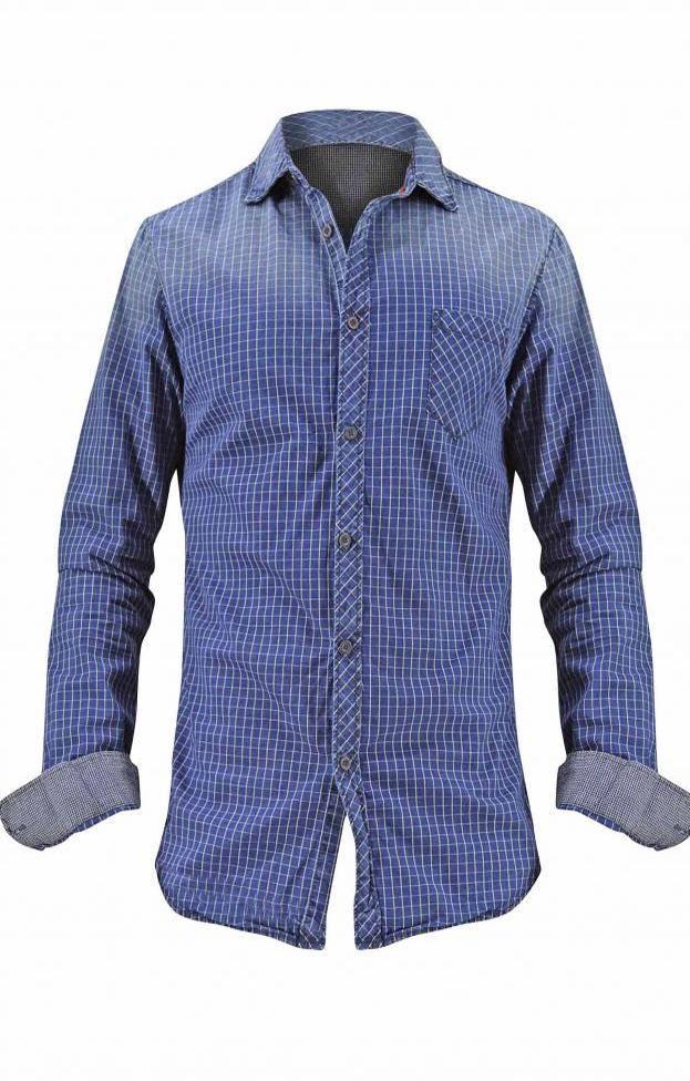 Ανδρικό πουκάμισο τζιν καρό | Άνδρας - Πουκάμισα | Metal Deluxe Denim