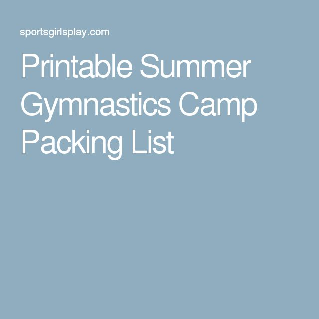Printable Summer Gymnastics Camp Packing List