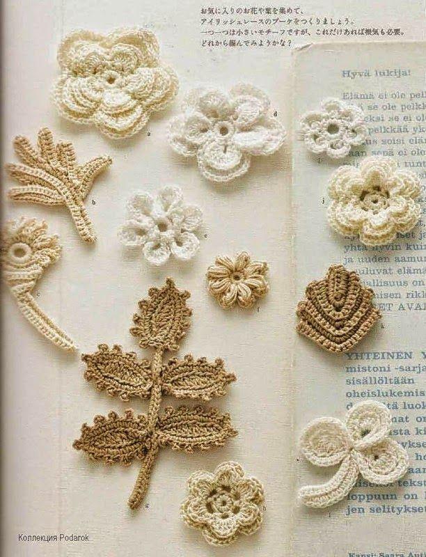 Bolso tejido al crochet con apliques florales realizados en crochet irlandés - con diagramas paso a paso | Crochet y Dos agujas