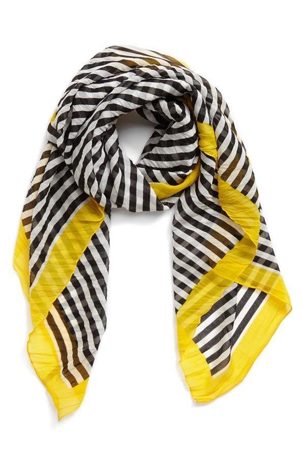 Stripe Scarf with Yellow Trim