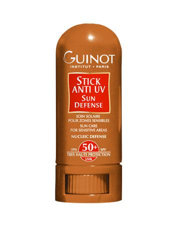 Guinot Anti UV Stick SPF 50. R290. Shipping worldwide. Sun Care for Sensitive Areas (lips, nose, cheeks). Provides invisible and intense protection. Ideal for outdoor sports, such as skiing, when reflected light increases the strength of sunlight.