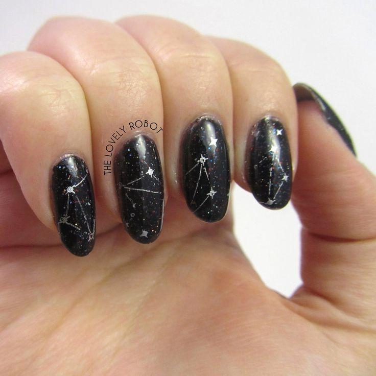 Simple Constellation Nail Art: Constellation Nails Using MoYou Zodiac 09 Libra